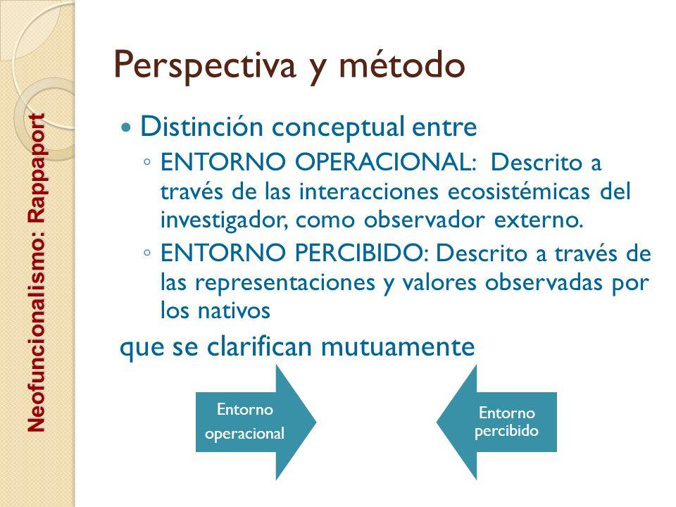 Perspectiva y método Distinción conceptual entre ENTORNO OPERACIONAL: Descrito a través de las interacciones ecosistémicas del investigador, como obse