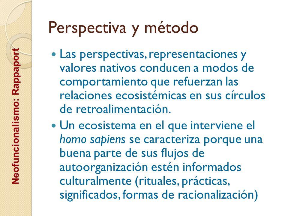 Perspectiva y método Las perspectivas, representaciones y valores nativos conducen a modos de comportamiento que refuerzan las relaciones ecosistémica