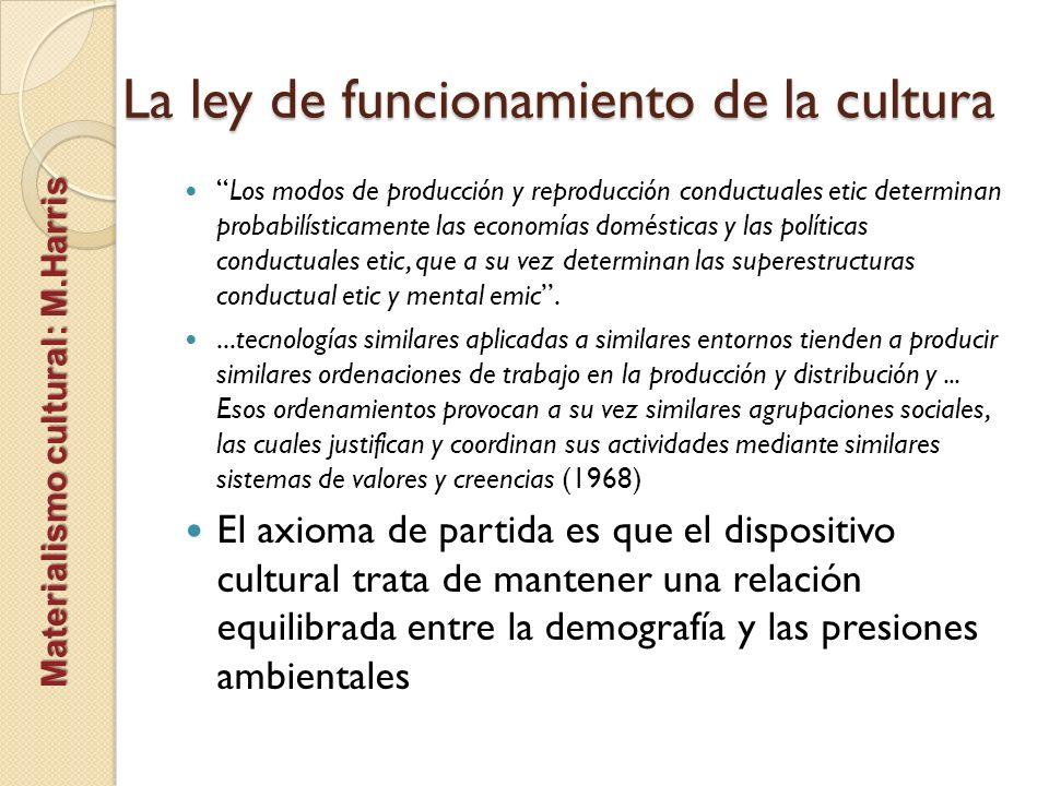 La ley de funcionamiento de la cultura Materialismo cultural: M.Harris Los modos de producción y reproducción conductuales etic determinan probabilíst