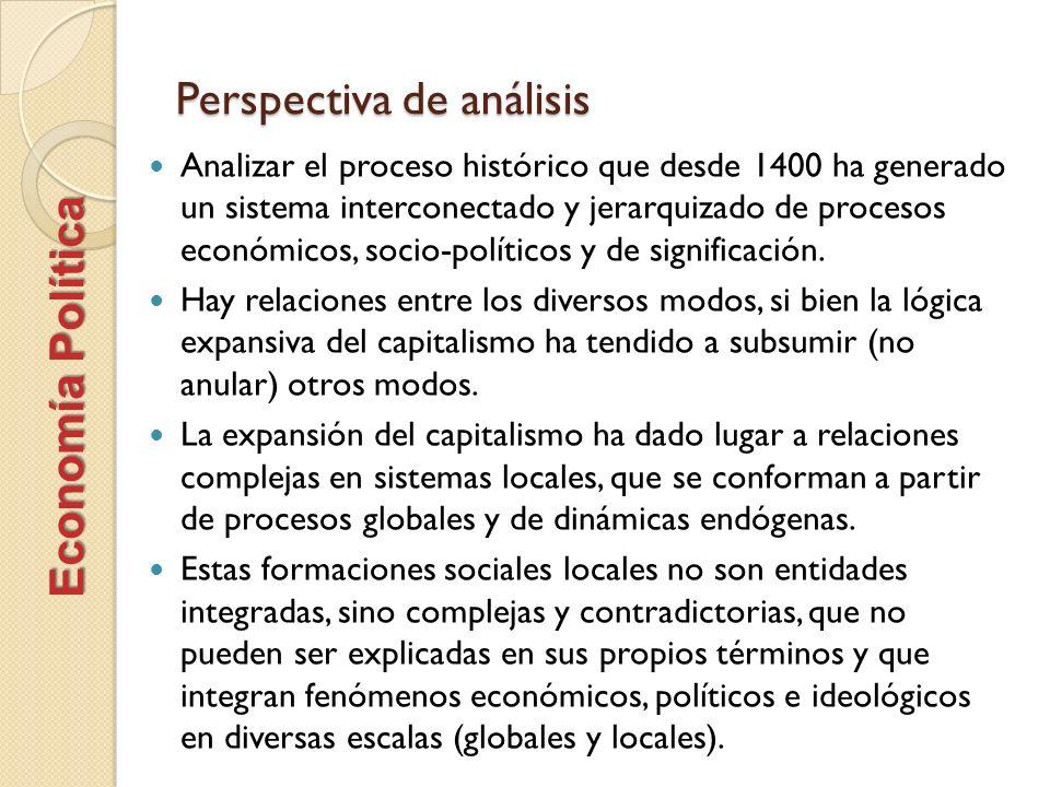 Perspectiva de análisis Analizar el proceso histórico que desde 1400 ha generado un sistema interconectado y jerarquizado de procesos económicos, soci