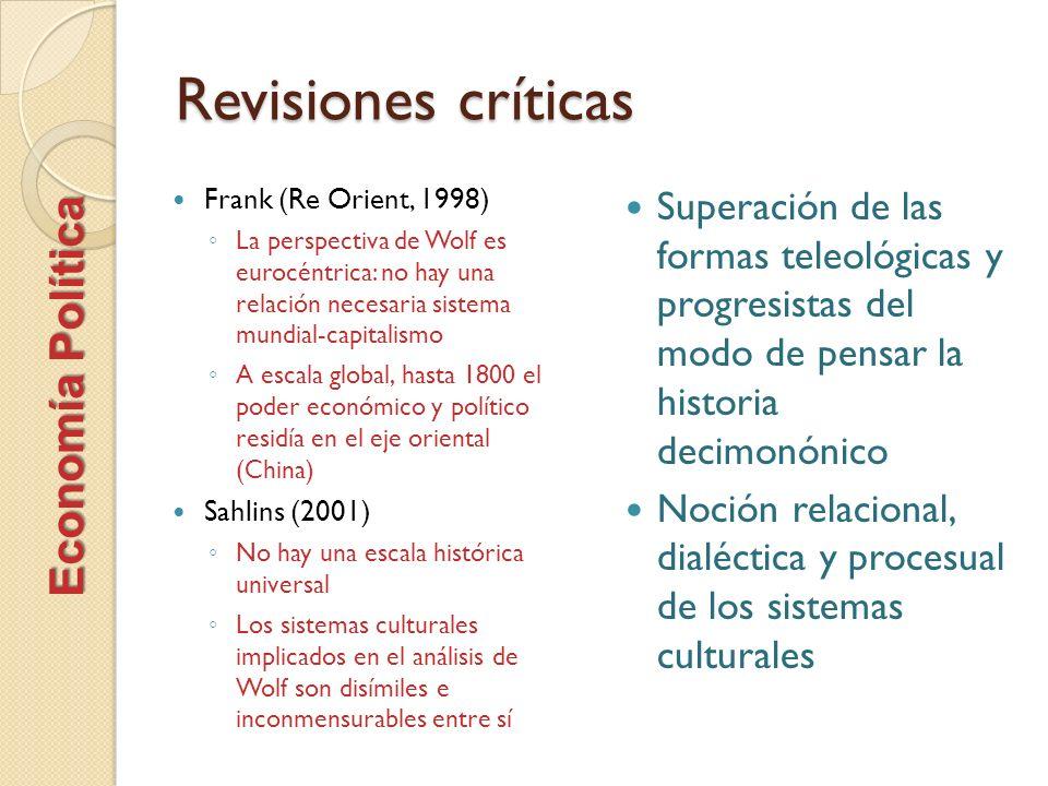 Revisiones críticas Frank (Re Orient, 1998) La perspectiva de Wolf es eurocéntrica: no hay una relación necesaria sistema mundial-capitalismo A escala