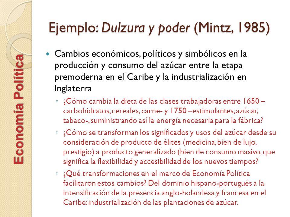 Ejemplo: Dulzura y poder (Mintz, 1985) Cambios económicos, políticos y simbólicos en la producción y consumo del azúcar entre la etapa premoderna en e