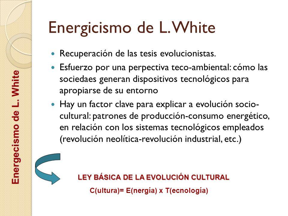Energicismo de L. White Recuperación de las tesis evolucionistas. Esfuerzo por una perpectiva teco-ambiental: cómo las sociedaes generan dispositivos