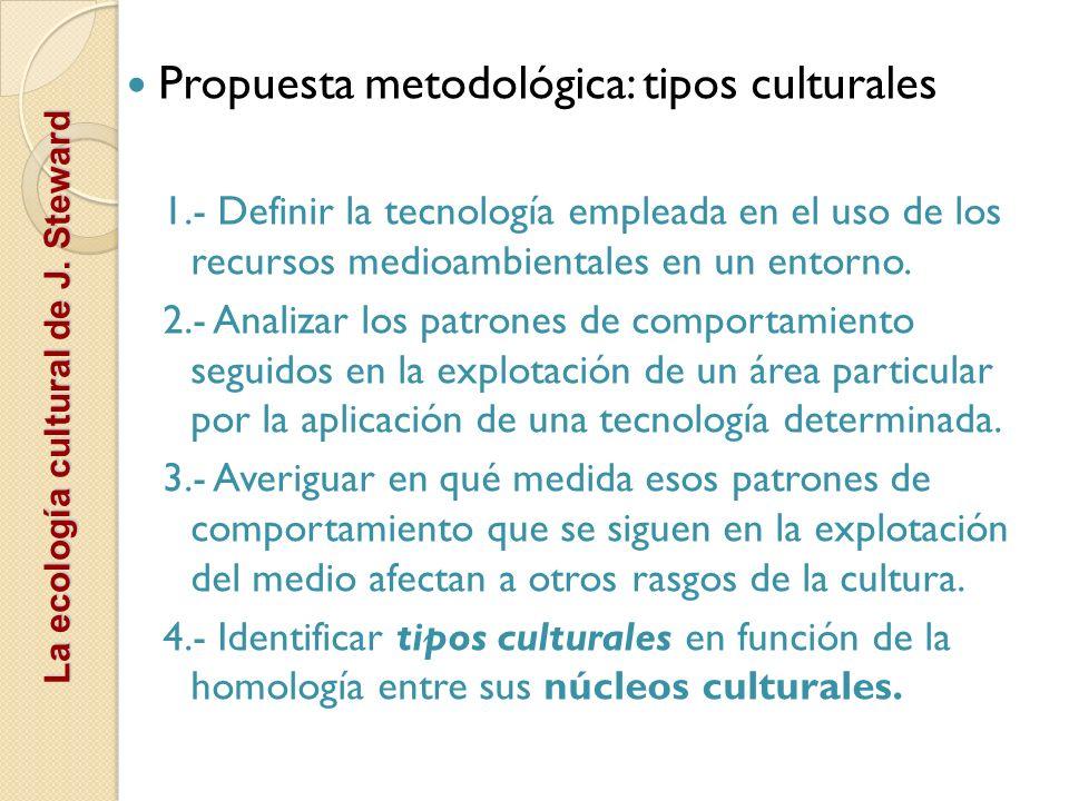 La ecología cultural de J. Steward Propuesta metodológica: tipos culturales 1.- Definir la tecnología empleada en el uso de los recursos medioambienta