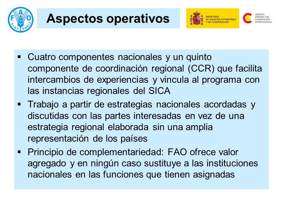 Aspectos operativos Cuatro componentes nacionales y un quinto componente de coordinación regional (CCR) que facilita intercambios de experiencias y vi