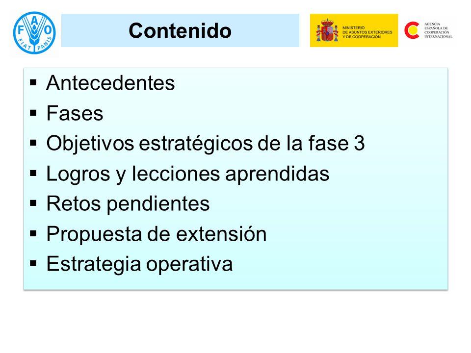 Contenido Antecedentes Fases Objetivos estratégicos de la fase 3 Logros y lecciones aprendidas Retos pendientes Propuesta de extensión Estrategia operativa Antecedentes Fases Objetivos estratégicos de la fase 3 Logros y lecciones aprendidas Retos pendientes Propuesta de extensión Estrategia operativa