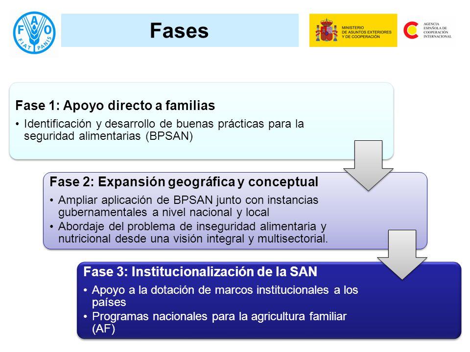 Fases Fase 1: Apoyo directo a familias Identificación y desarrollo de buenas prácticas para la seguridad alimentarias (BPSAN) Fase 2: Expansión geográ