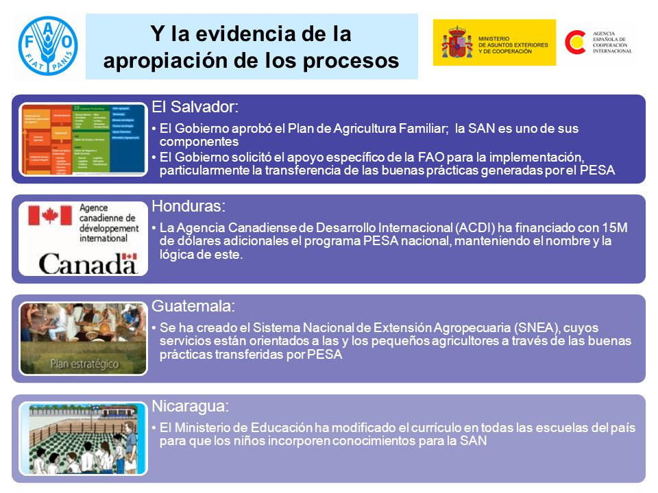 Y la evidencia de la apropiación de los procesos El Salvador: El Gobierno aprobó el Plan de Agricultura Familiar; la SAN es uno de sus componentes El