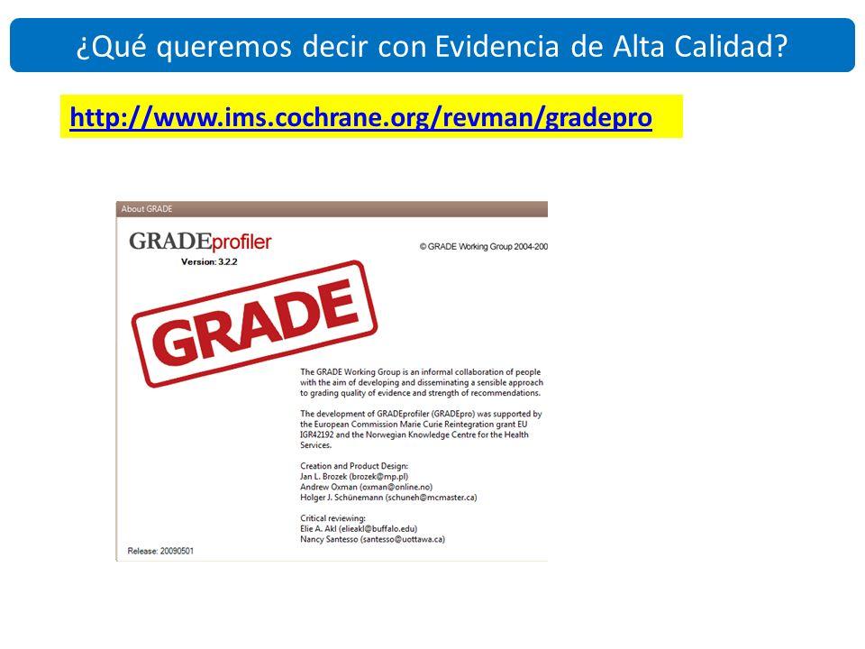 http://www.ims.cochrane.org/revman/gradepro ¿Qué queremos decir con Evidencia de Alta Calidad