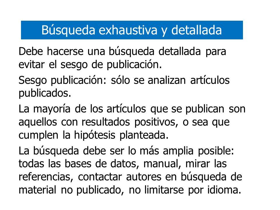 Búsqueda exhaustiva y detallada Debe hacerse una búsqueda detallada para evitar el sesgo de publicación. Sesgo publicación: sólo se analizan artículos