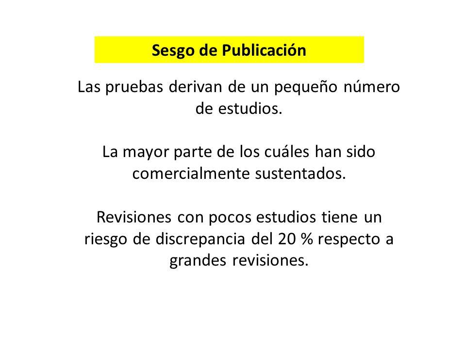 Sesgo de Publicación Las pruebas derivan de un pequeño número de estudios.