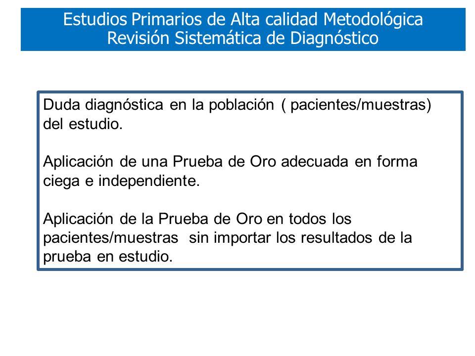 Duda diagnóstica en la población ( pacientes/muestras) del estudio.