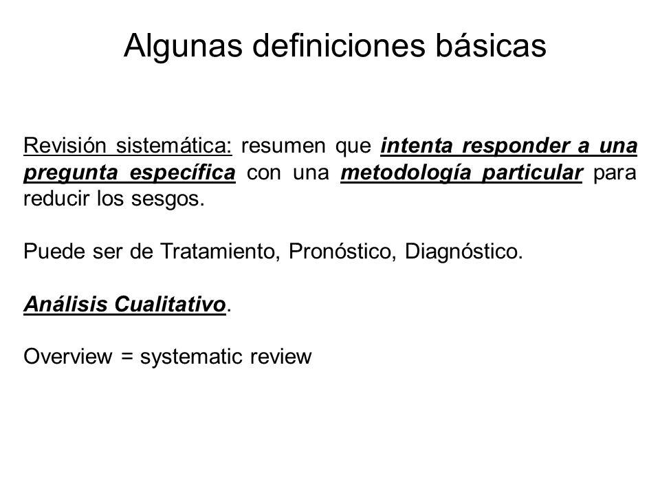 Algunas definiciones básicas Revisión sistemática: resumen que intenta responder a una pregunta específica con una metodología particular para reducir los sesgos.