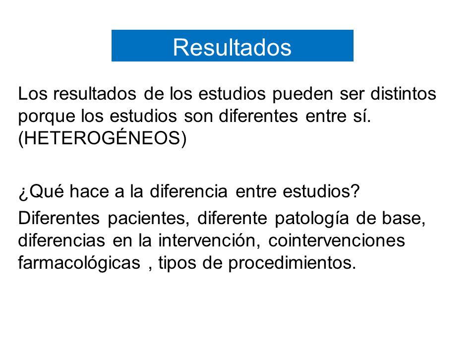 Resultados Los resultados de los estudios pueden ser distintos porque los estudios son diferentes entre sí.