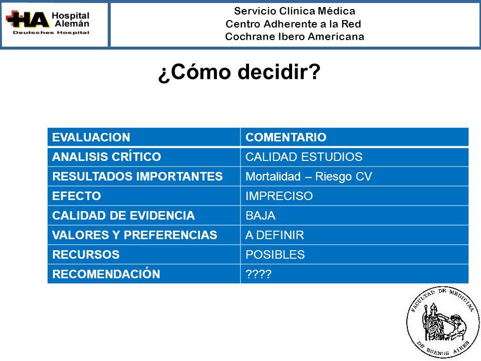 Servicio Clínica Médica Centro Adherente a la Red Cochrane Ibero Americana EVALUACIONCOMENTARIO ANALISIS CRÍTICOCALIDAD ESTUDIOS RESULTADOS IMPORTANTE