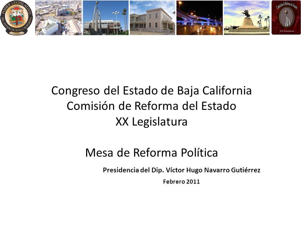 Congreso del Estado de Baja California Comisión de Reforma del Estado XX Legislatura Mesa de Reforma Política Presidencia del Dip. Víctor Hugo Navarro