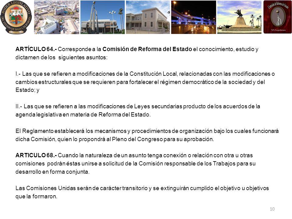 ARTÍCULO 64.- Corresponde a la Comisión de Reforma del Estado el conocimiento, estudio y dictamen de los siguientes asuntos: I.- Las que se refieren a