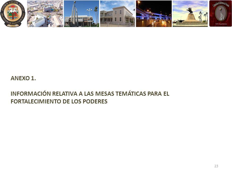 ANEXO 1. INFORMACIÓN RELATIVA A LAS MESAS TEMÁTICAS PARA EL FORTALECIMIENTO DE LOS PODERES 23