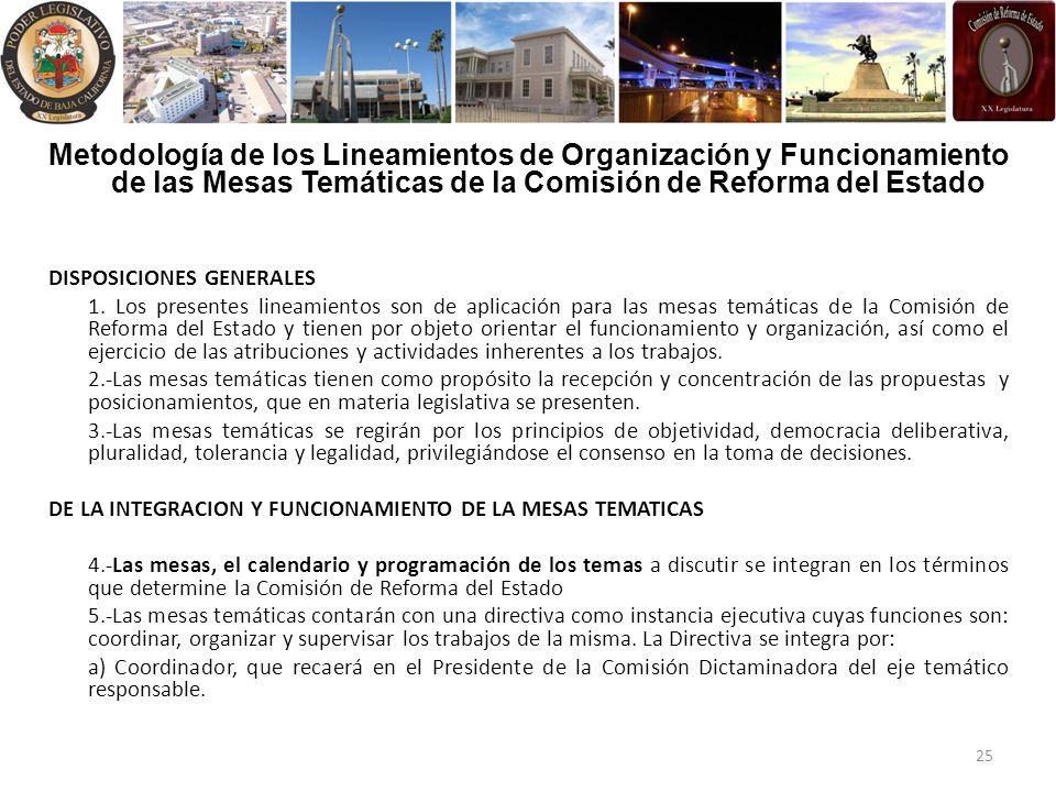 Metodología de los Lineamientos de Organización y Funcionamiento de las Mesas Temáticas de la Comisión de Reforma del Estado DISPOSICIONES GENERALES 1.