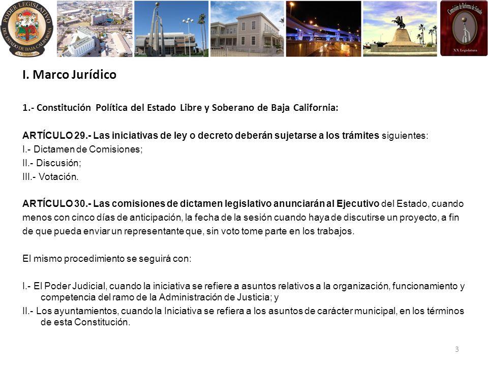 I. Marco Jurídico 1.- Constitución Política del Estado Libre y Soberano de Baja California: ARTÍCULO 29.- Las iniciativas de ley o decreto deberán suj