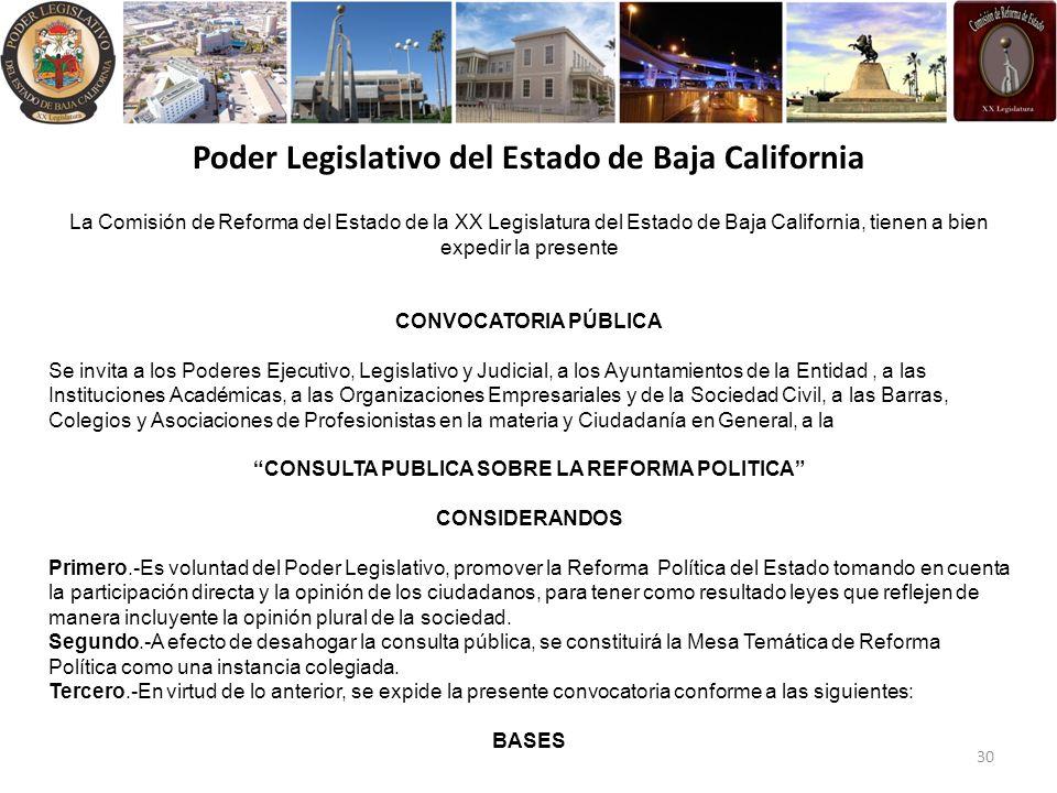 Poder Legislativo del Estado de Baja California La Comisión de Reforma del Estado de la XX Legislatura del Estado de Baja California, tienen a bien expedir la presente CONVOCATORIA PÚBLICA Se invita a los Poderes Ejecutivo, Legislativo y Judicial, a los Ayuntamientos de la Entidad, a las Instituciones Académicas, a las Organizaciones Empresariales y de la Sociedad Civil, a las Barras, Colegios y Asociaciones de Profesionistas en la materia y Ciudadanía en General, a la CONSULTA PUBLICA SOBRE LA REFORMA POLITICA CONSIDERANDOS Primero.-Es voluntad del Poder Legislativo, promover la Reforma Política del Estado tomando en cuenta la participación directa y la opinión de los ciudadanos, para tener como resultado leyes que reflejen de manera incluyente la opinión plural de la sociedad.