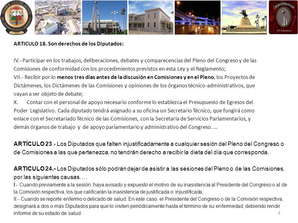 ARTICULO 18. Son derechos de los Diputados: IV.- Participar en los trabajos, deliberaciones, debates y comparecencias del Pleno del Congreso y de las