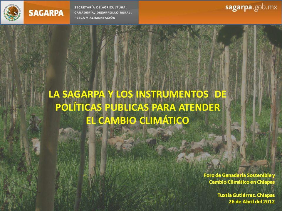 LA SAGARPA Y LOS INSTRUMENTOS DE POLÍTICAS PUBLICAS PARA ATENDER EL CAMBIO CLIMÁTICO Foro de Ganadería Sostenible y Cambio Climático en Chiapas Tuxtla