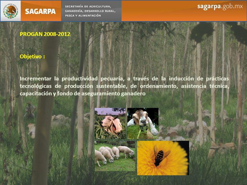 PROGAN 2008-2012 Objetivo : Incrementar la productividad pecuaria, a través de la inducción de prácticas tecnológicas de producción sustentable, de or