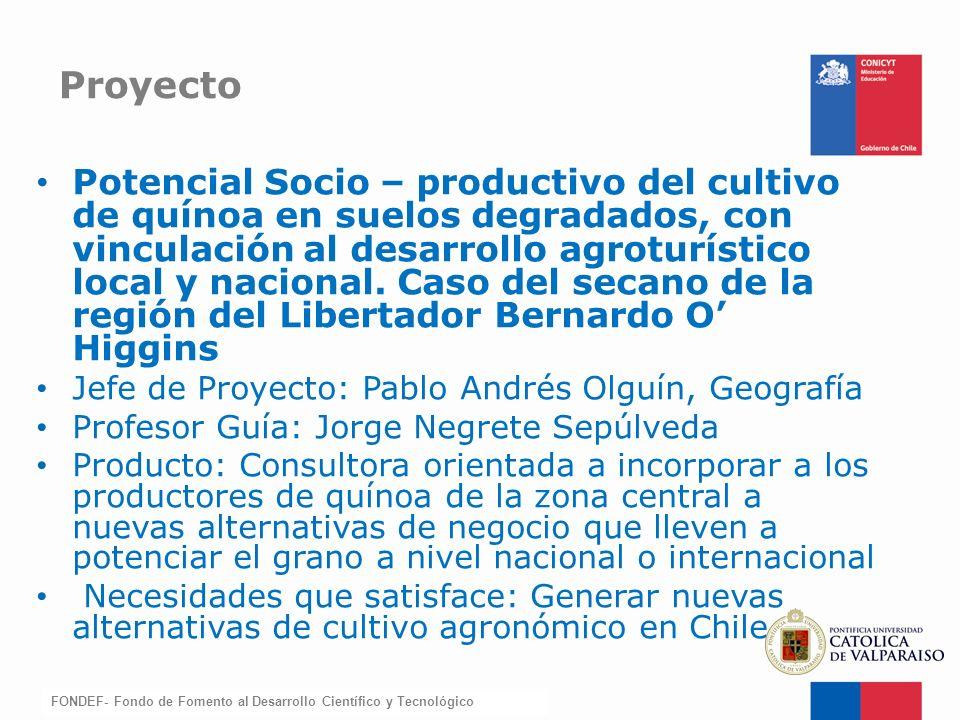 FONDEF-Fondo de Fomento Potencial Socio – productivo del cultivo de quínoa en suelos degradados, con vinculación al desarrollo agroturístico local y n
