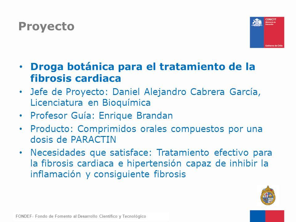 FONDEF-Fondo de Fomento Droga botánica para el tratamiento de la fibrosis cardiaca Jefe de Proyecto: Daniel Alejandro Cabrera García, Licenciatura en