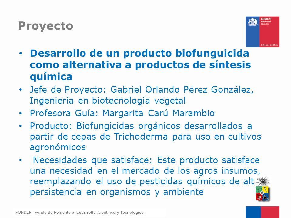 FONDEF-Fondo de Fomento Desarrollo de un producto biofunguicida como alternativa a productos de síntesis química Jefe de Proyecto: Gabriel Orlando Pér