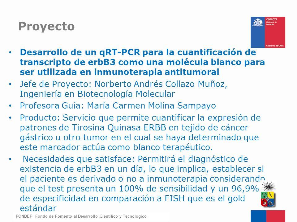 FONDEF-Fondo de Fomento Desarrollo de un qRT-PCR para la cuantificación de transcripto de erbB3 como una molécula blanco para ser utilizada en inmunot