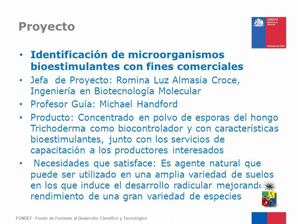 FONDEF-Fondo de Fomento Identificación de microorganismos bioestimulantes con fines comerciales Jefa de Proyecto: Romina Luz Almasia Croce, Ingeniería