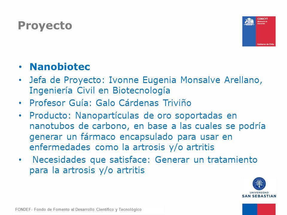 FONDEF-Fondo de Fomento Nanobiotec Jefa de Proyecto: Ivonne Eugenia Monsalve Arellano, Ingeniería Civil en Biotecnología Profesor Guía: Galo Cárdenas