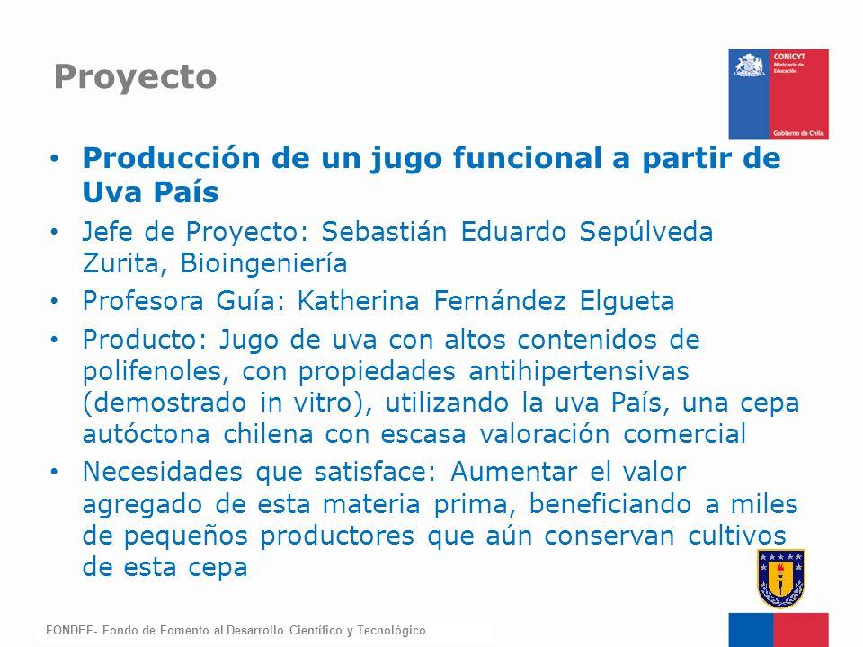FONDEF-Fondo de Fomento Producción de un jugo funcional a partir de Uva País Jefe de Proyecto: Sebastián Eduardo Sepúlveda Zurita, Bioingeniería Profe