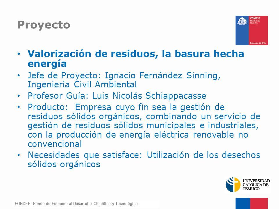 FONDEF-Fondo de Fomento Valorización de residuos, la basura hecha energía Jefe de Proyecto: Ignacio Fernández Sinning, Ingeniería Civil Ambiental Prof