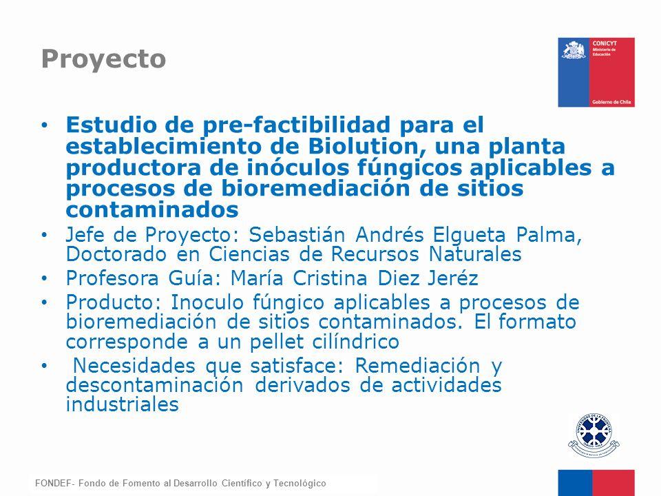 FONDEF-Fondo de Fomento Estudio de pre-factibilidad para el establecimiento de Biolution, una planta productora de inóculos fúngicos aplicables a proc