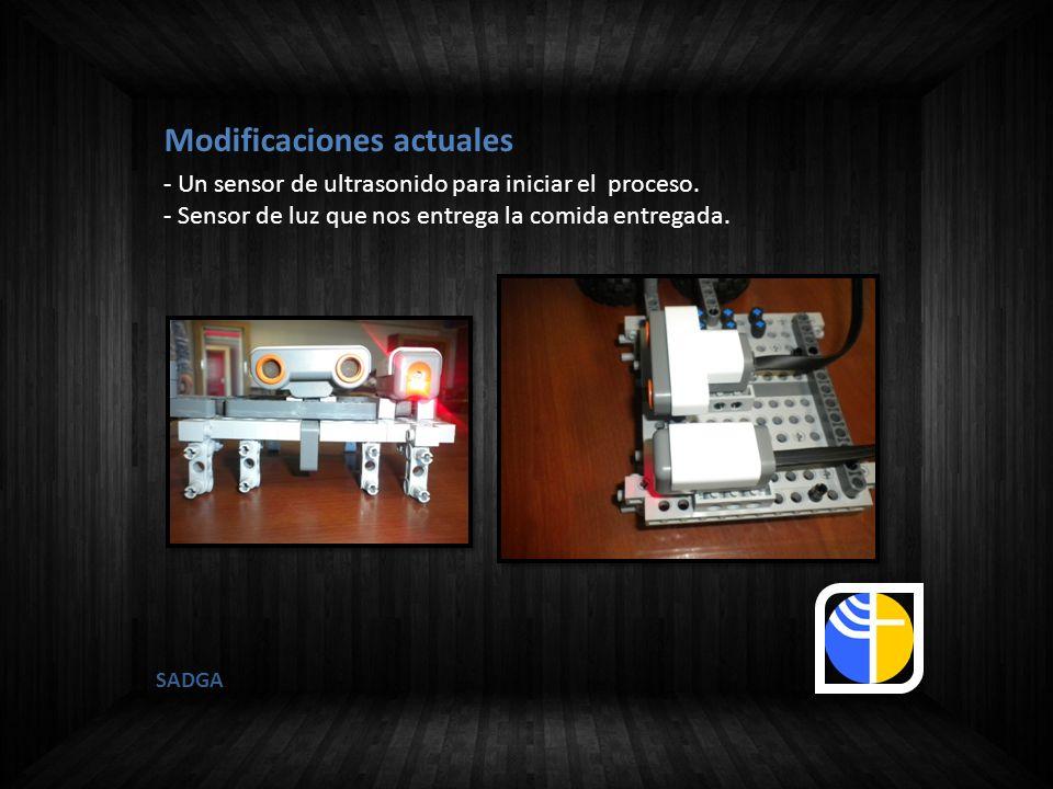 SADGA - Un sensor de ultrasonido para iniciar el proceso. - Sensor de luz que nos entrega la comida entregada. Modificaciones actuales