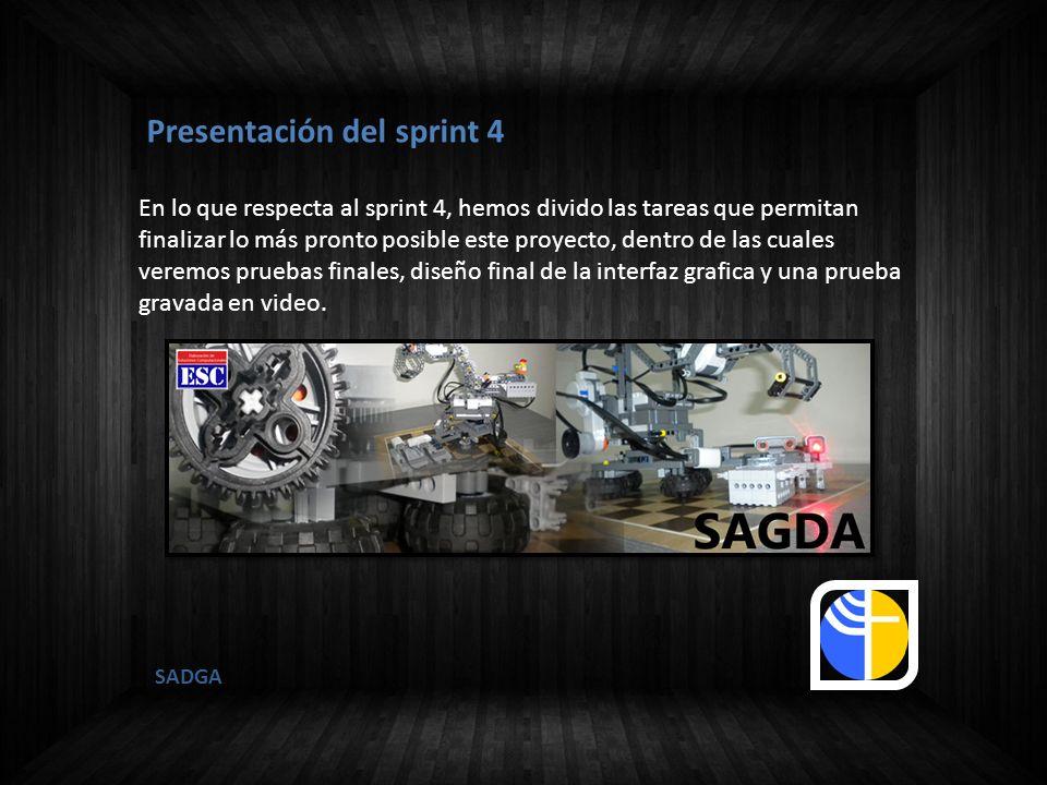 SADGA Presentación del sprint 4 En lo que respecta al sprint 4, hemos divido las tareas que permitan finalizar lo más pronto posible este proyecto, de