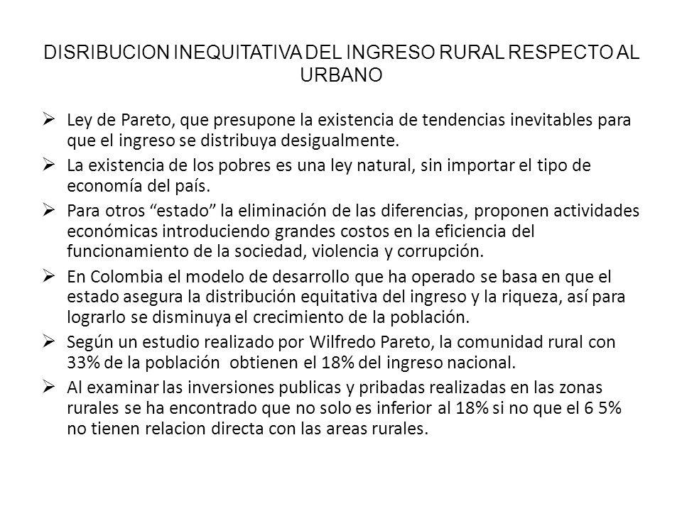Las actividades económicas en el área rurales son restringidas y la situación de desarrollo respecto ala Colombia urbana tiende a perpetuarse.