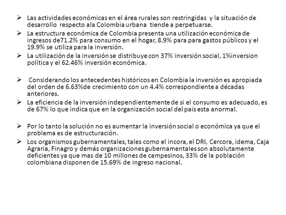 Los legisladores de Colombia al comparar el sistema urbano con el rural, explican que se encuentran discrepancias debido a que el sistema urbano es subsidiado por el sector rural.