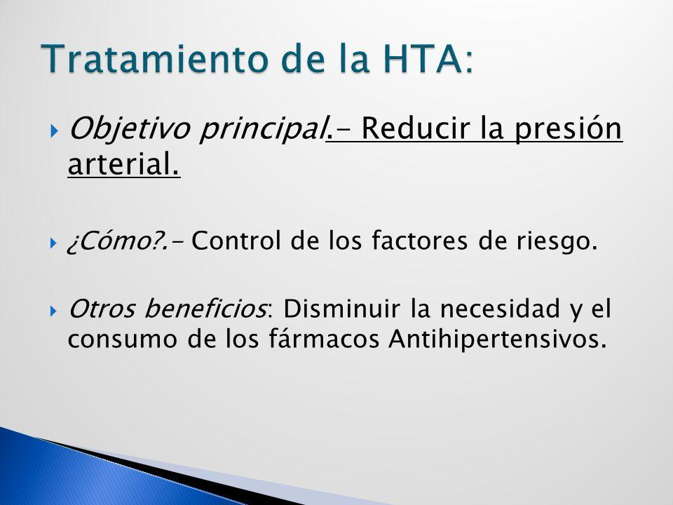 Objetivo principal.- Reducir la presión arterial.¿Cómo?.- Control de los factores de riesgo.