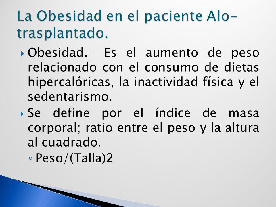 Obesidad.- Es el aumento de peso relacionado con el consumo de dietas hipercalóricas, la inactividad física y el sedentarismo.