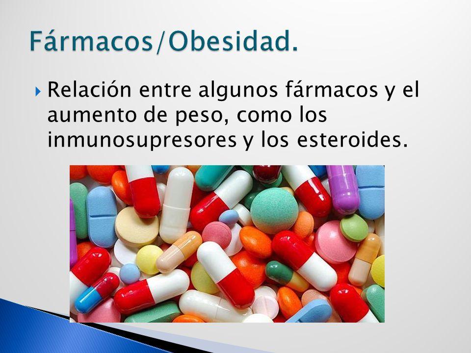 Relación entre algunos fármacos y el aumento de peso, como los inmunosupresores y los esteroides.