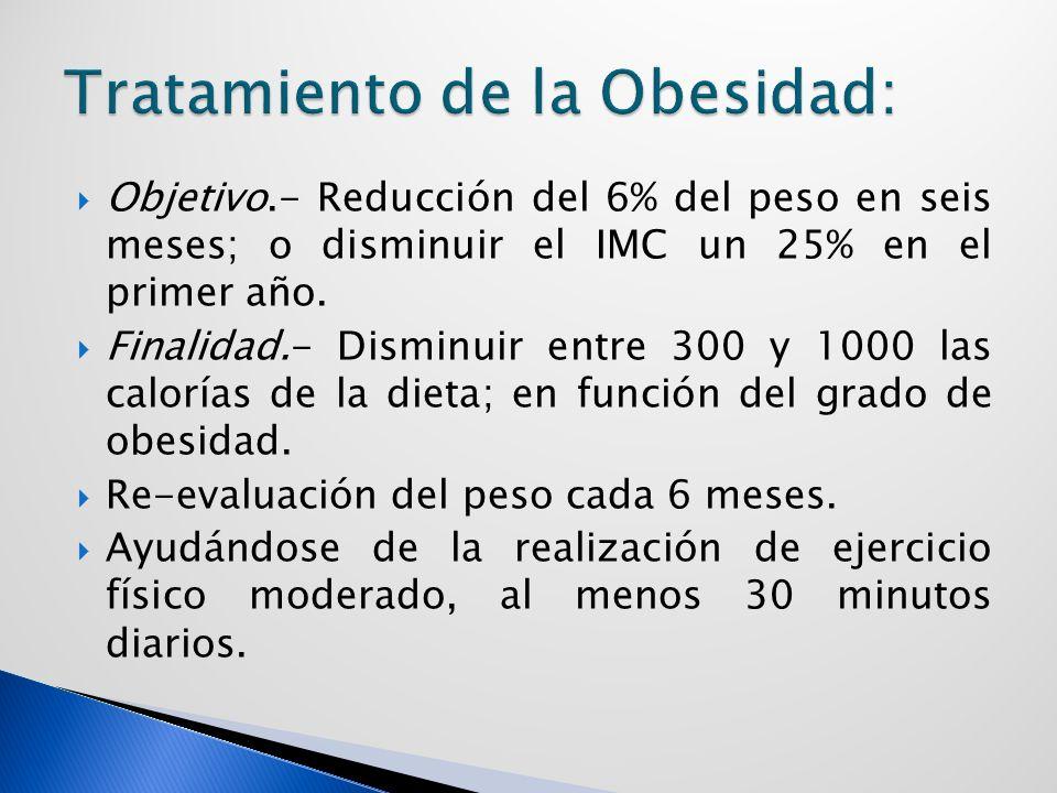 Objetivo.- Reducción del 6% del peso en seis meses; o disminuir el IMC un 25% en el primer año.