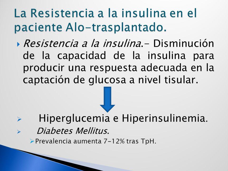 Resistencia a la insulina.- Disminución de la capacidad de la insulina para producir una respuesta adecuada en la captación de glucosa a nivel tisular.