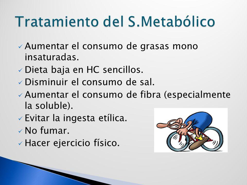 Aumentar el consumo de grasas mono insaturadas.Dieta baja en HC sencillos.