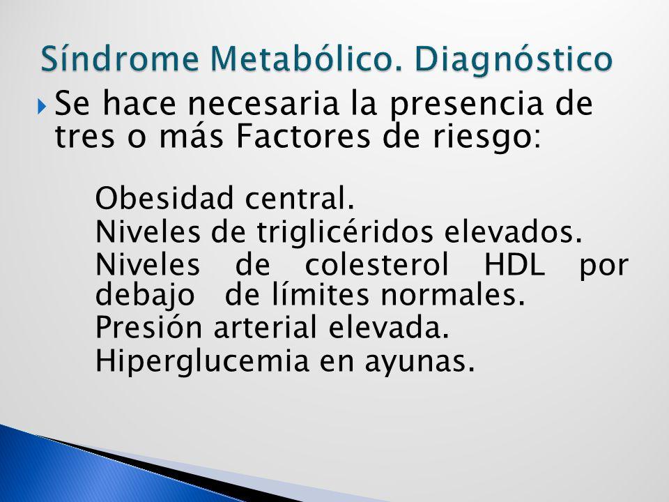 Se hace necesaria la presencia de tres o más Factores de riesgo: Obesidad central.