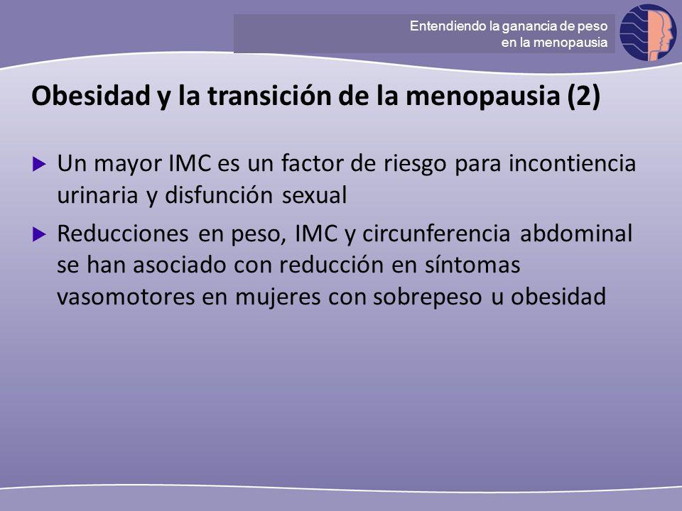 Understanding ganancia de peso at menopause Obesidad y la transición de la menopausia (2) Un mayor IMC es un factor de riesgo para incontiencia urinar