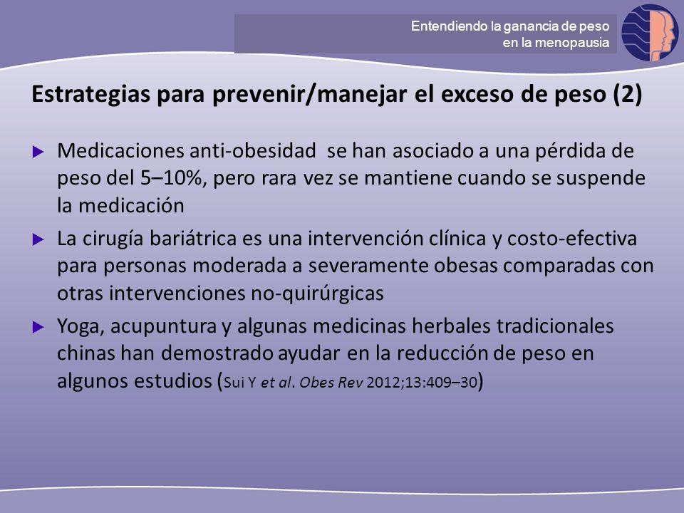 Understanding ganancia de peso at menopause Medicaciones anti-obesidad se han asociado a una pérdida de peso del 5–10%, pero rara vez se mantiene cuan